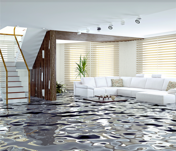 flooding in luxurious interior room