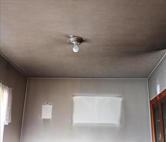soot covered walls and ceiling