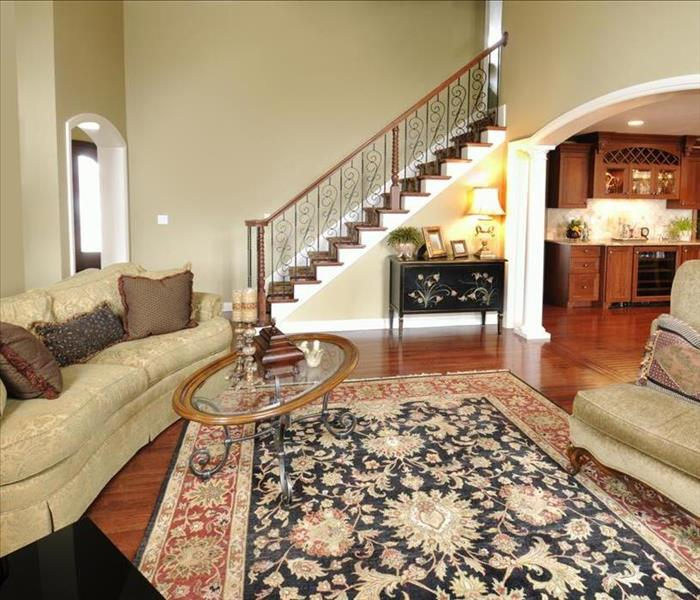 oriental rug and hardwood flooring