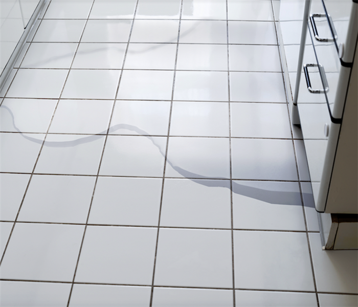 a puddle of water on tile floor