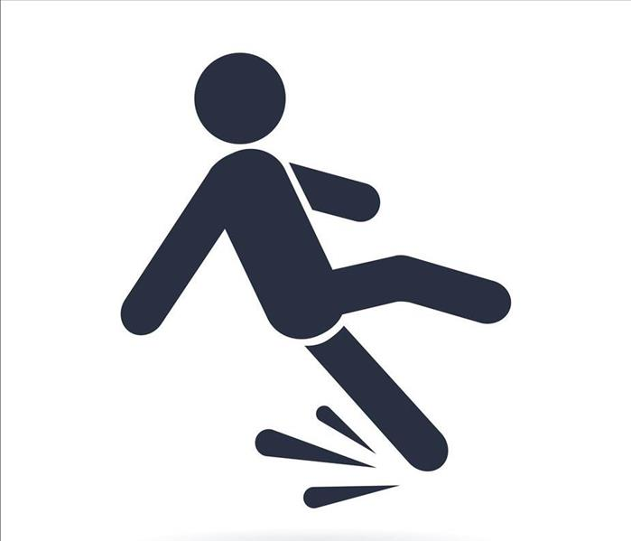 Black Image of Person Slipping and Falling