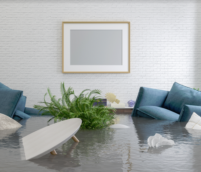 water damaged living room with couches and tables floating