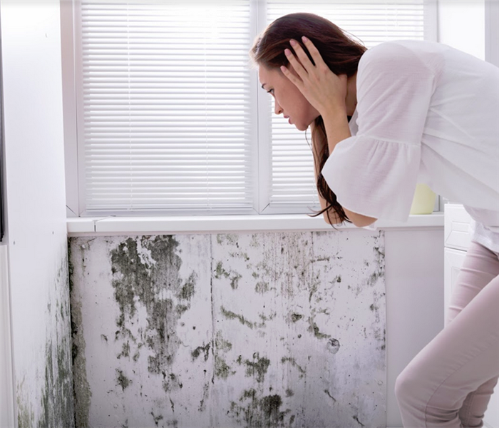 woman looking at mold growing on her wall
